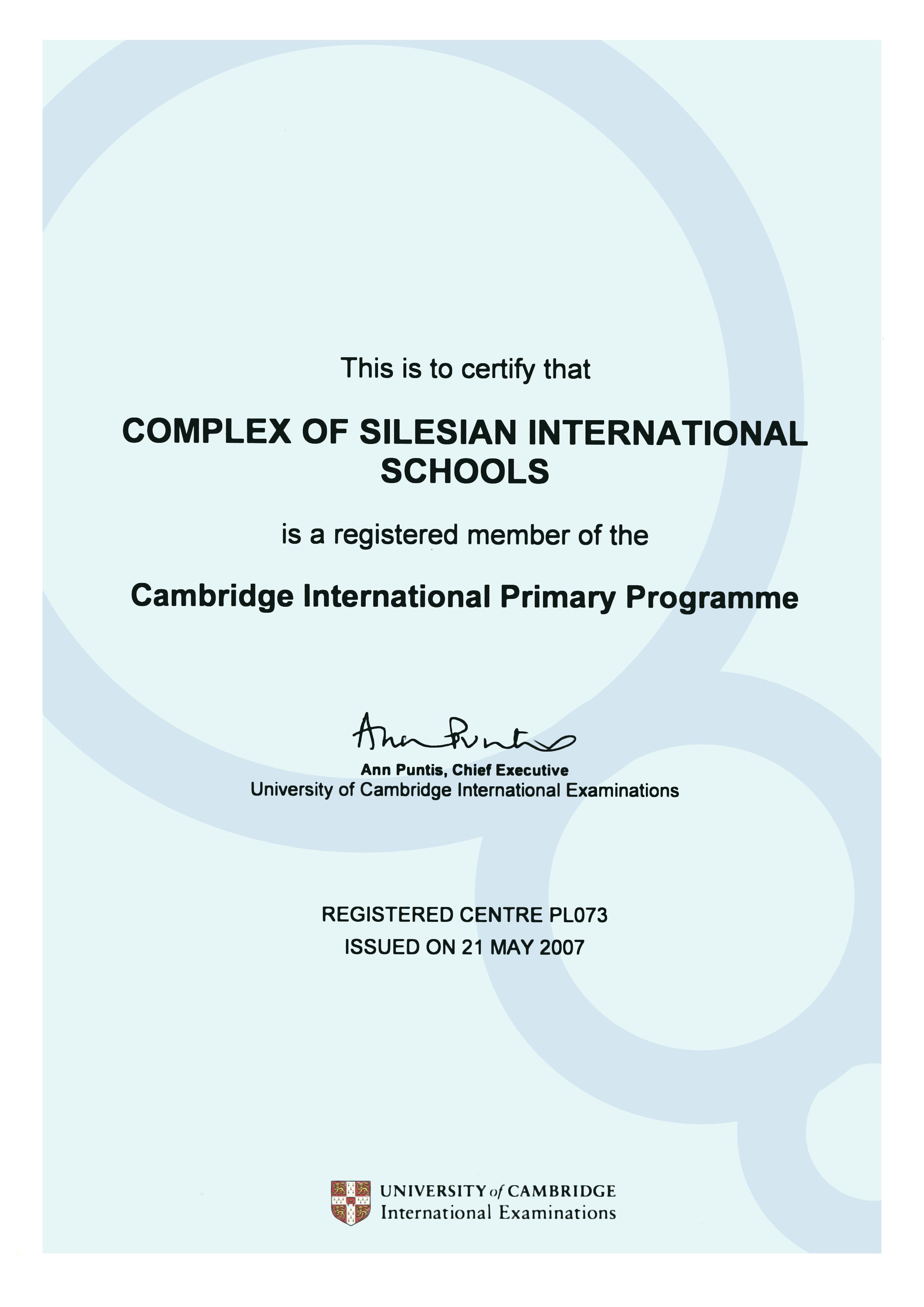 Certyfikat dla Complex of Silesian International School poświadczający, iż szkoła jest członkiem Cambridge International Primary Programme